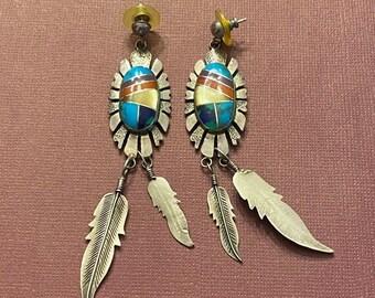 ONSALE Handmade Native American Southwest Feather Dangle Earrings Coral & Turquoise Earrings