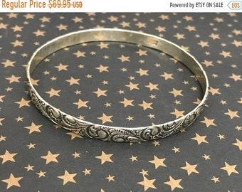 ONSALE Vintage Sterling Silver Danecraft Ornate Paisley Bangle Bracelet