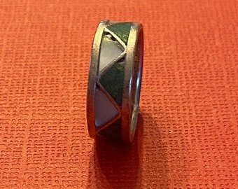 ONSALE Mother of Pearl, Turquoise & Sterling Silver Handmade Zig Zag Bohemian Ring