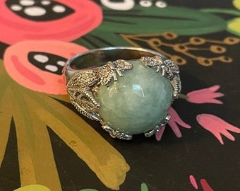ONSALE Round Jade Nature Inspired Sterling Silver Ring Handmade Jewelry Unique