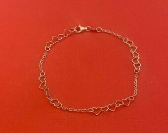 ONSALE Interlocking Heart Sterling Silver Handmade Bracelet Anklet Marked Italy