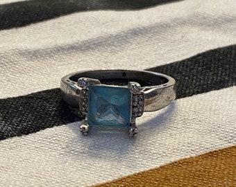 ONSALE Princess Cut Blue Topaz Sterling Silver Handmade Vintage Ring December Birthstone Push Present