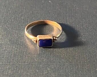 ONSALE Lapis Lazuli & Sterling Silver Geometric Minimalist Handmade Ring Everyday Jewelry