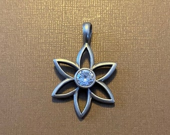 ONSALE Man Made Diamond & Sterling Silver Blossoming Flower Six Petal Flower Pendant Necklace Marked By Artist