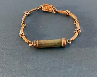 ONSALE Oval Natural Jade & Sterling Silver Knot Handmade Taxco Bracelet Signed RB