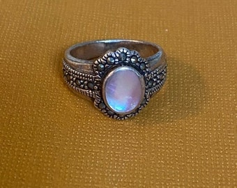 ONSALE Mother of Pearl, Marcasite & Sterling Silver Handmade Statement Ring June Birthstone Good Luck Prosperity