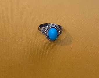 ONSALE Braided Border Oval Turquoise Handmade Sterling Silver Ring Native American Jewelry