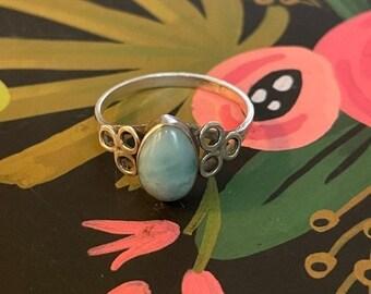 ONSALE Aquamarine Oval & Sterling Silver Geometric Everyday Handmade Statement Ring