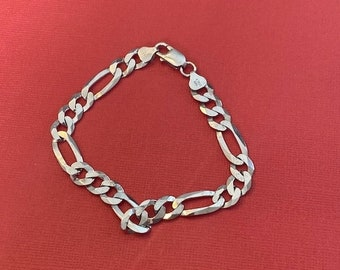 ONSALE RCI Sterling Silver Figaro Chain Bracelet Made in Milor Italy Vintage Jewelry 8.75 inches Men's Bracelet