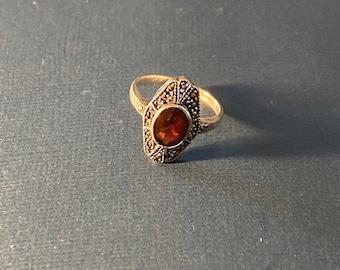 ONSALE Garnet, Marcasite & Sterling Silver Art Deco Ring January Birthstone Self-Empowerment