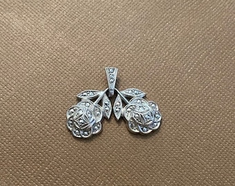 ONSALE Blooming Flowers Marcasite & Sterling Silver Handmade Pendant Floral Jewelry Art Deco Style Pendant