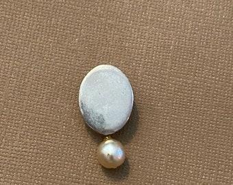 ONSALE Pearl & Sterling Silver Oval Handmade Pendant Modern Design