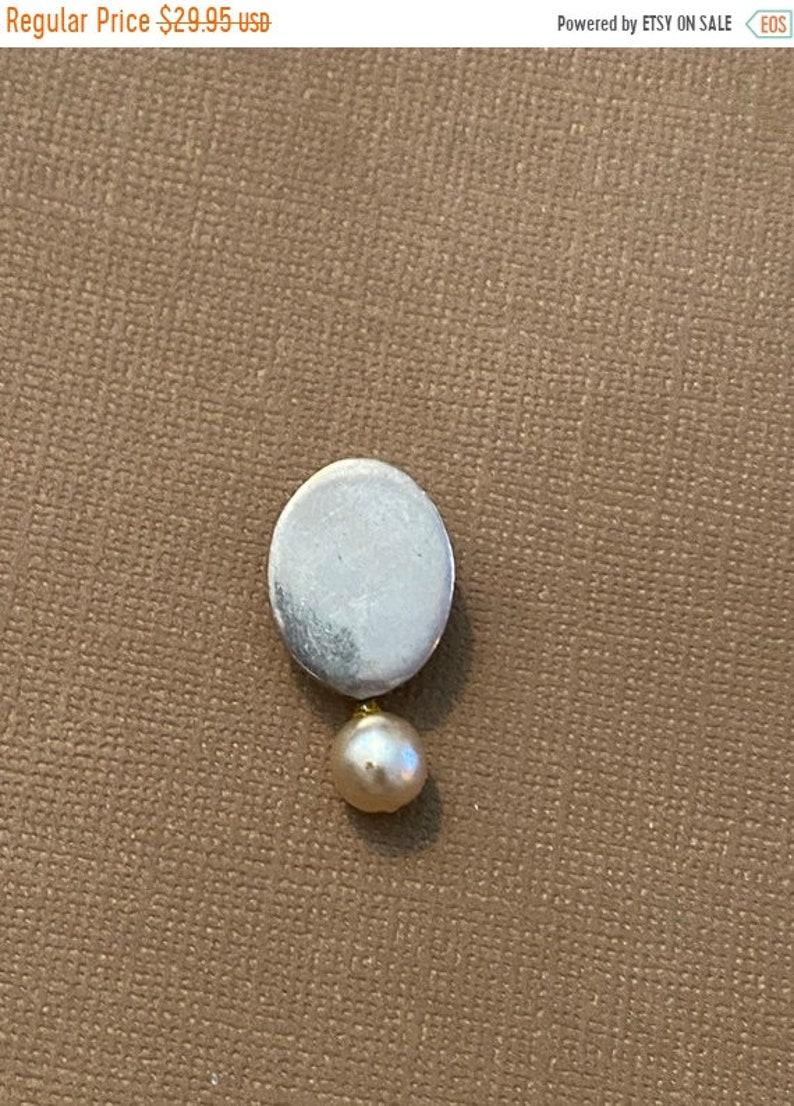 ONSALE Pearl & Sterling Silver Oval Handmade Pendant Modern image 1