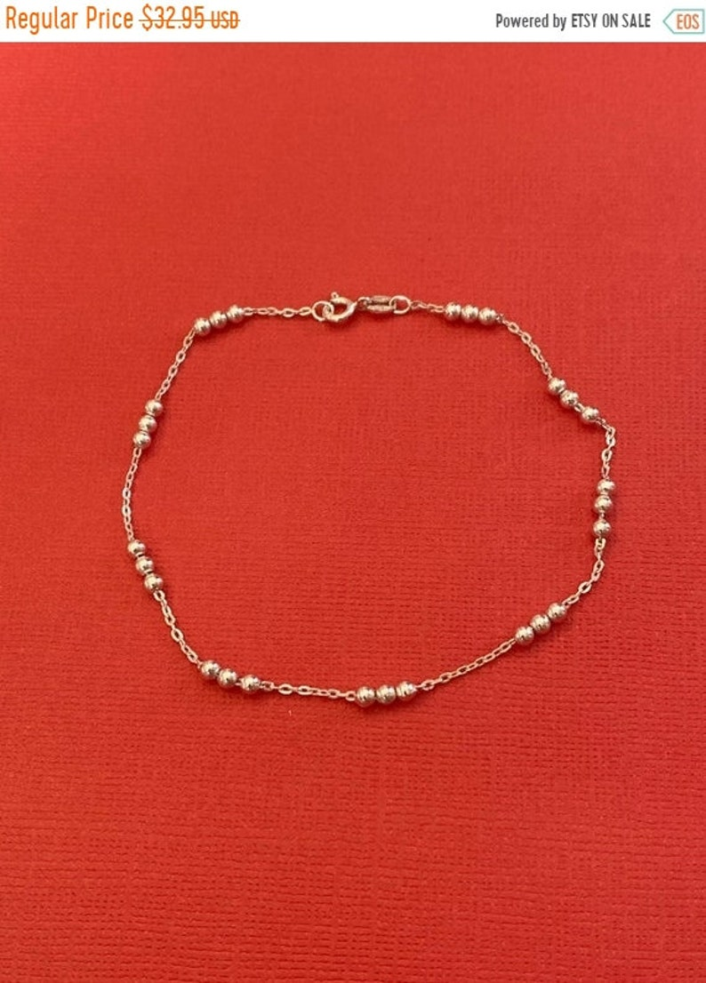 ONSALE Beaded Sterling Silver Handmade Bracelet Anklet 8.75 image 1