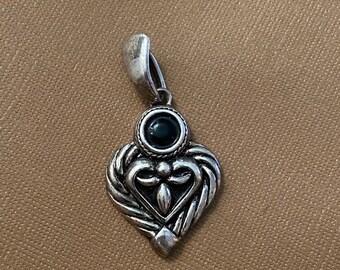ONSALE Onyx & Sterling Silver Vintage Handmade Heart Modern Pendant