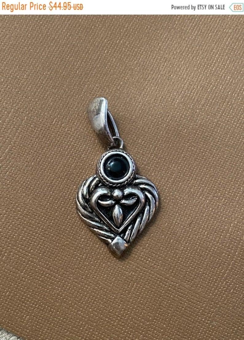 ONSALE Onyx & Sterling Silver Vintage Handmade Heart Modern image 1