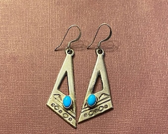 ONSALE Handmade Arnold Maloney Sterling Silver & Turquoise Triangle Dangle Earrings Native American Navajo Jewelry