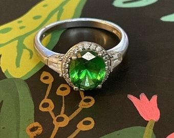 ONSALE Tsavorite Garnet, Man Made Diamond & Sterling Silver Oval Halo Statement Ring