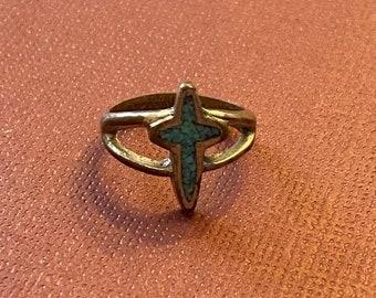 ONSALE Handmade Sterling Silver Split Shank Turquoise Cross Vintage Ring