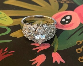 ONSALE Cubic Zirconia & Sterling Silver Marquise Cut Tiara Style Statement Ring Formal Wear Bling