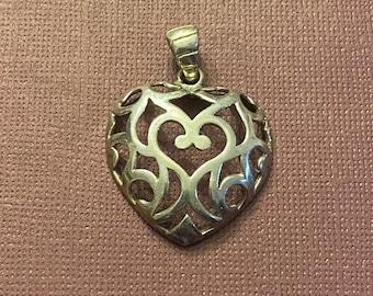 ONSALE Handmade Sterling Silver Swirled Heart Pendant Signed Milor Italy