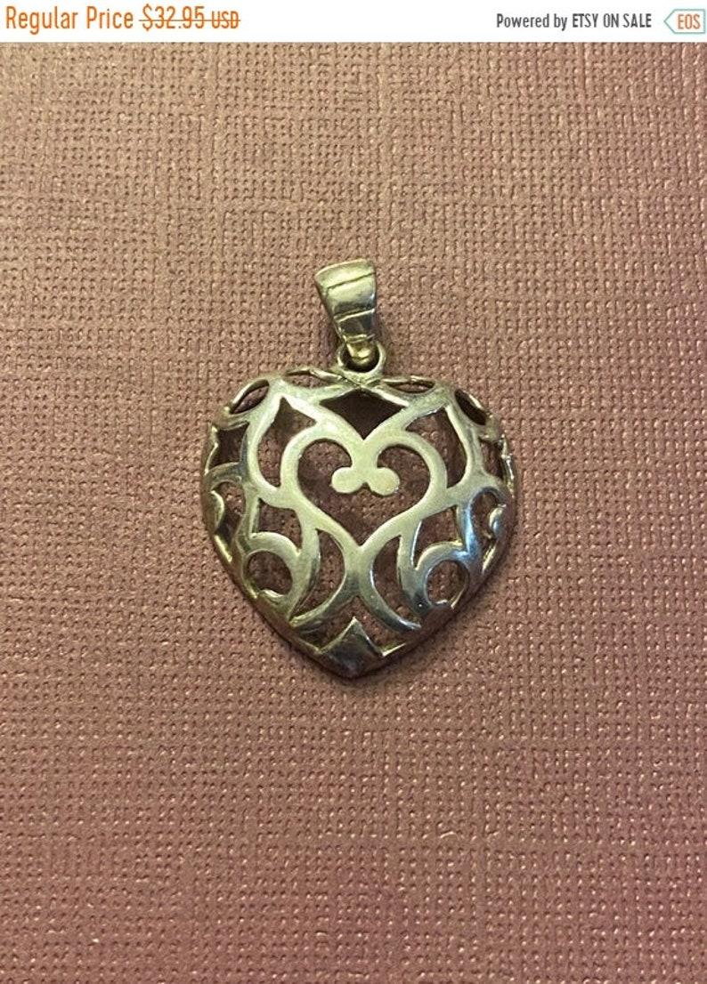 ONSALE Handmade Sterling Silver Swirled Heart Pendant Signed image 1