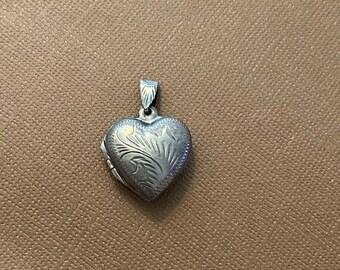 ONSALE Floral Etched Sterling Silver Vintage Heart Locket Handmade Locket Pendant