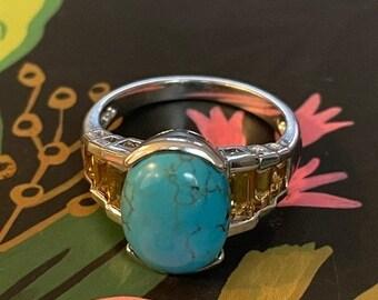 ONSALE Turquoise, Citrine & Sterling Silver Handmade Artisanal Ring