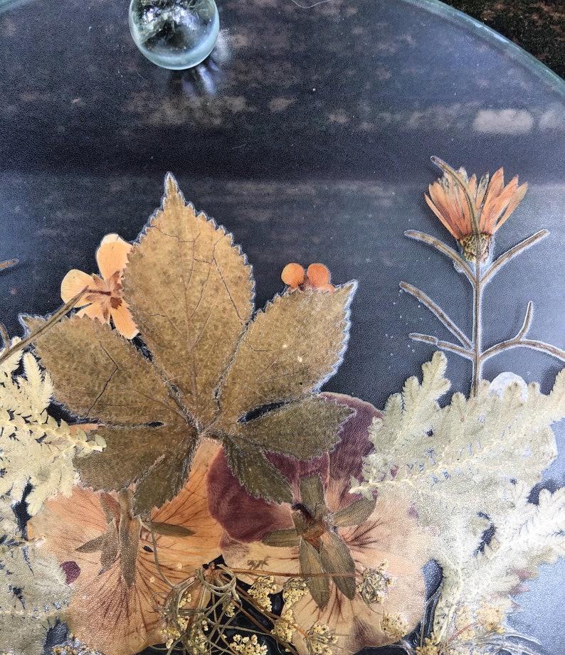 vintage handmade pressed flower trivet