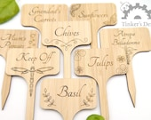 Personalised Plant Markers - Custom Planter Labels, Wooden Herb Labels, Seed Tags, Seed Labels Seed Markers. Cusom Herb Markers - Engraved