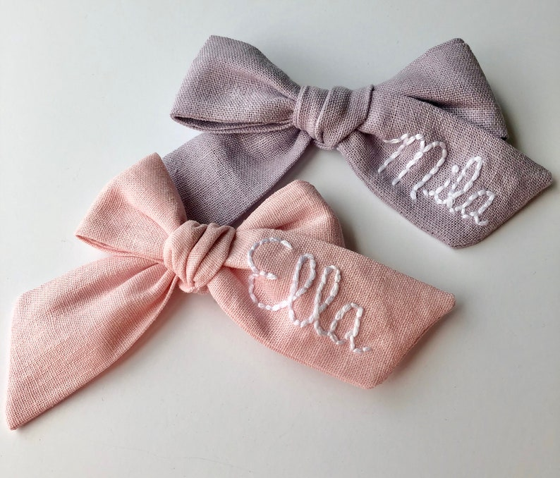 Customized Hand Embroidered Name Bow-Monogramed Bow image 0