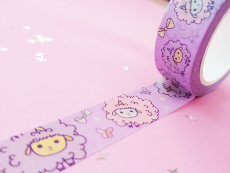 Kawaii Washi Tape Stationary Sheep Washi Tape Cute Washi Tape Sheepicorn Pastel Washi Tape Purple AdorableWashi Tape