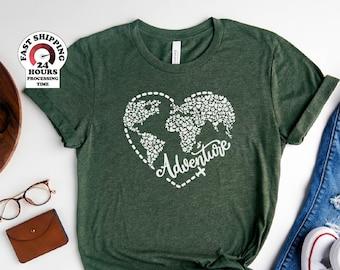 Adventure shirt, Adventure Awaits Shirt, Adventure Heart Shirt Travel Shirt, Globe Shirt, Love to Travel Shirt, Floral World Shirt
