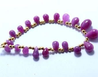 2 Pcs 4 Ct Faceted Natural Ruby Briolette Drilled Bead 10.4 x 6.5 mm