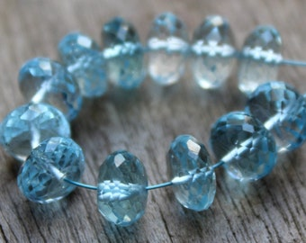 6.5 MM 24.9 Ct Natural Blue Topaz Faceted Rondelle Beads Strand,Sky Blue Faceted Rondelle  Earth Mined Semi Precious Beads,Making jewelry: