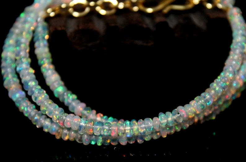 3 MM,Geniune Ethiopian Fire Opal Smooth Rondelle Beads Necklace,Opal Bead Necklace,Ethiopian Opal Faceted Beads Necklace,Ready To Wear: