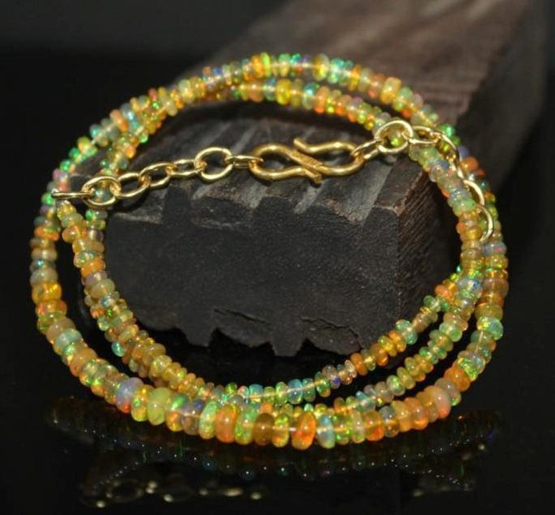 4.5x3 MM  Natural Ethiopian fire Opal  Beads Necklace,Fire Opal Smooth Beads Necklace,Opal Rondelle Necklace,Welo Opal Necklace:
