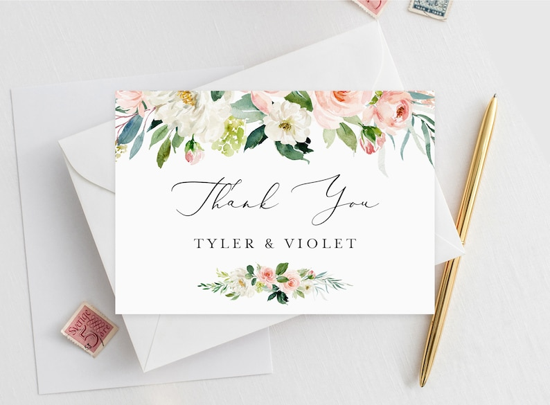 INSW005 Templett Small Thanks Thanks Tag Baby Shower Wedding Printable Peonies Thank You Card INSTANT DOWNLOAD Favor Tag Favour