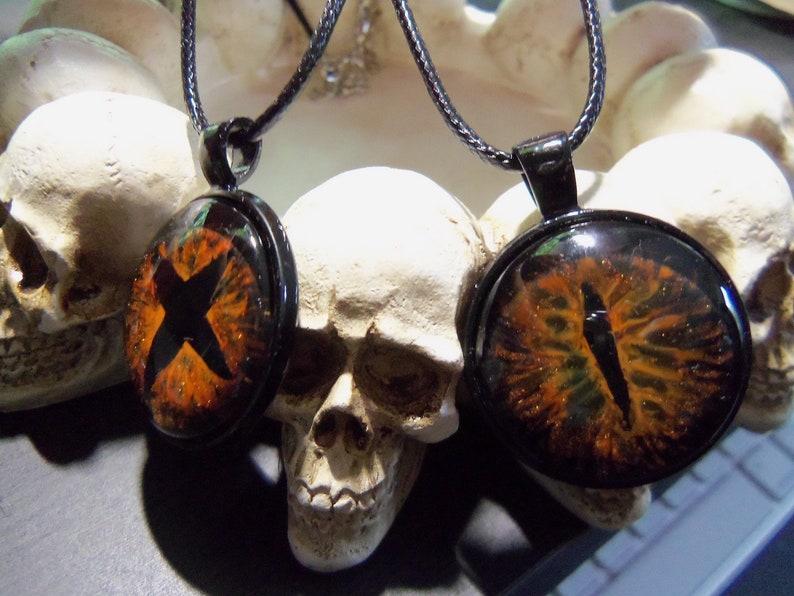 Orange and Black Eye Pendant Hand Painted