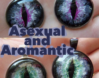 Asexual or Aromantic Pride Flag Inspired Serpent's Eye Pendant