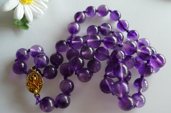 Vintage Genuine  Amethyst Beads necklace Chinese A