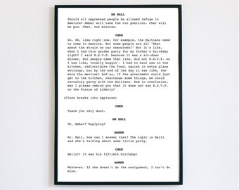 Clueless Quote Screenplay Wall Art | Movie Script Wall Art | Digital Print | Screenplay Art | Decor | Printable Poster