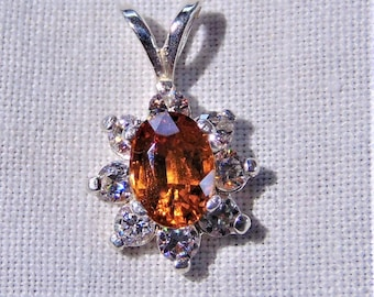 55Carat Genuine Hessonite Garnet 925 Silver Pendant for Women Charms 3 Carat January Birthstone Oval Necklace