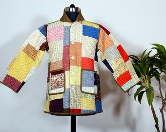 Linen Indian Kantha Quilt Jacket Size M/L/XL/ patchwork jacket /Boho, Unisex Coat/ Kimono, kantha quilted Jacket/ Artist Coat/ Customizable