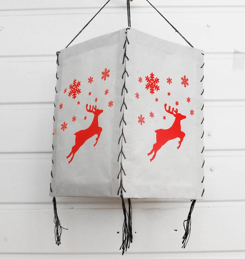 Hand made Lokta Paper Lamp Shades Christmas Reindeer Flying Reindeer Christmas decorative Lamp shed
