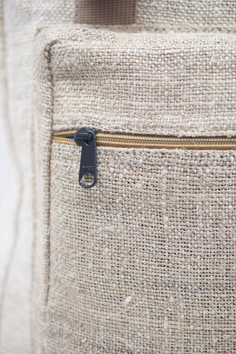 Beige Fold Top Bag Laptop top bag Hemp Bag Organic Traveler Bag Vegan Bag Natural Large Eco Bag Yatri