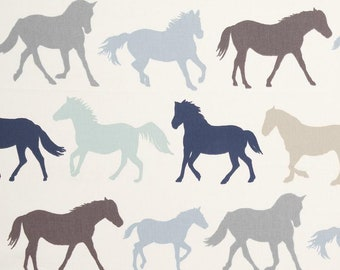 DENIM Clarke and Clarke STAMPEDE Horses Cotton Fabric for Curtain//Upholstery