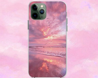 Red abstract sunset landscape painting iPhone 11 case