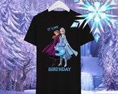Frozen Elsa & Anna Birthday Tshirt / Frozen Elsa y Anna Camisa de cumpleaños