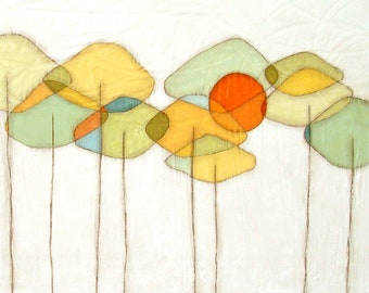 """3 sizes - beeswax wrapped canvas 12x12 reproduction """"Autumn Sky"""" - Artist: Sarah Faulkner"""